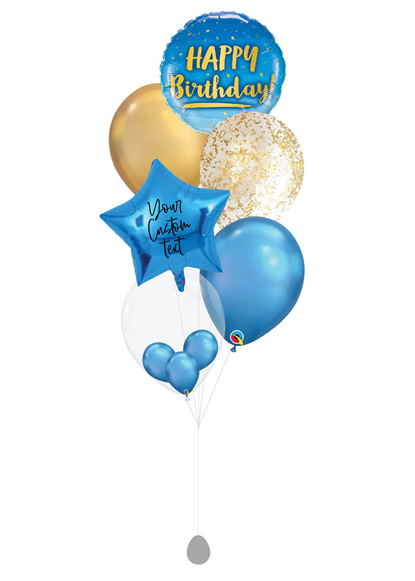 [BOUQUET] Customised Birthday Gold & Blue