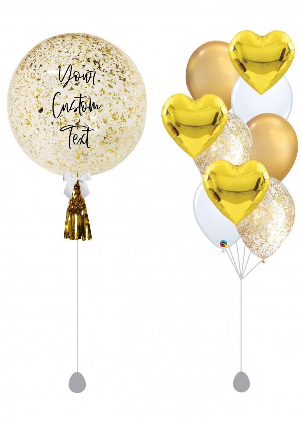 "[SET] Customised 18"" Gold Glitter Bubble Bouquet"