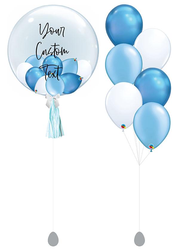 "[SET] Customised 24"" Baby Blue Bubble Bouquet"