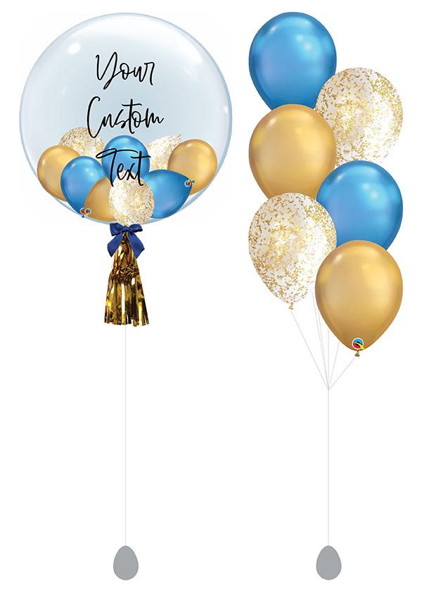 "[SET] Customised 24"" Blue Luxury Bubble Bouquet"