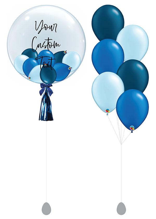"""[SET] Customised 24"""" Deep Blue Bubble Bouquet"""