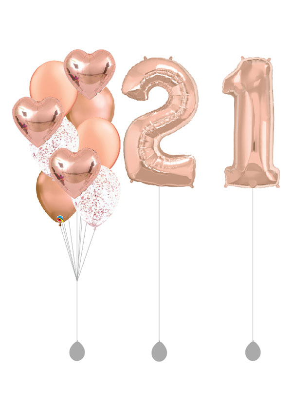 """[BOUQUET SET] Rose Gold Hearts Bouquet With Double 40"""" Rose Gold Number Foil"""
