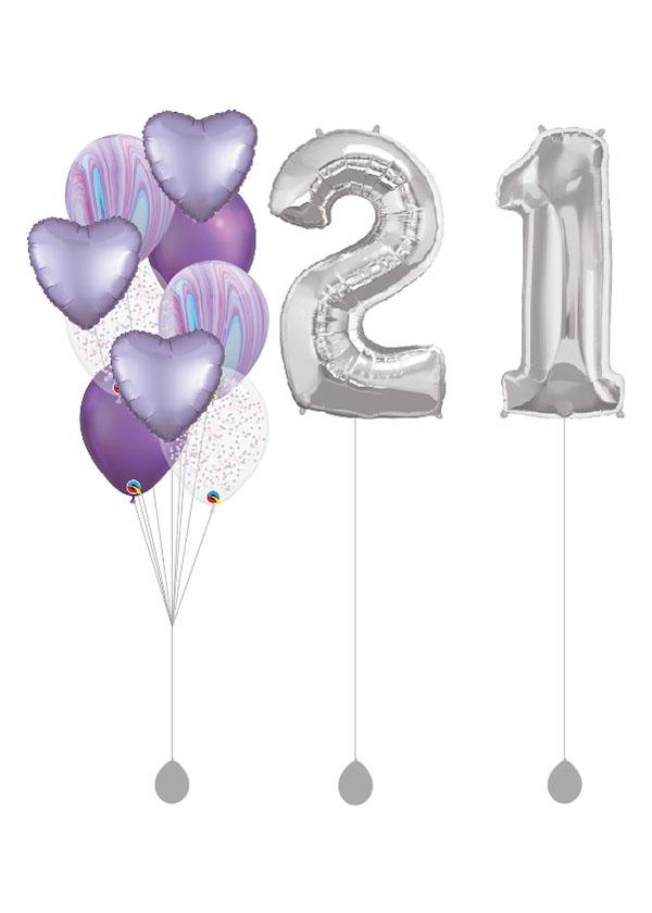 """[BOUQUET SET] Pastel Satin Lilac Heart Bouquet With Double 40"""" Silver Number Foil"""