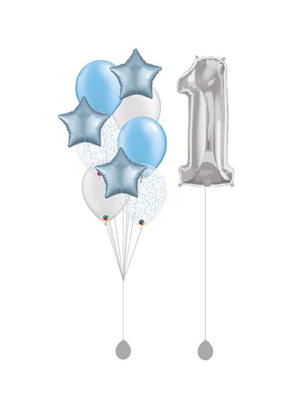 """[BOUQUET SET] Satin Pastel Blue Star Bouquet with Single 40"""" Silver Number Foil"""