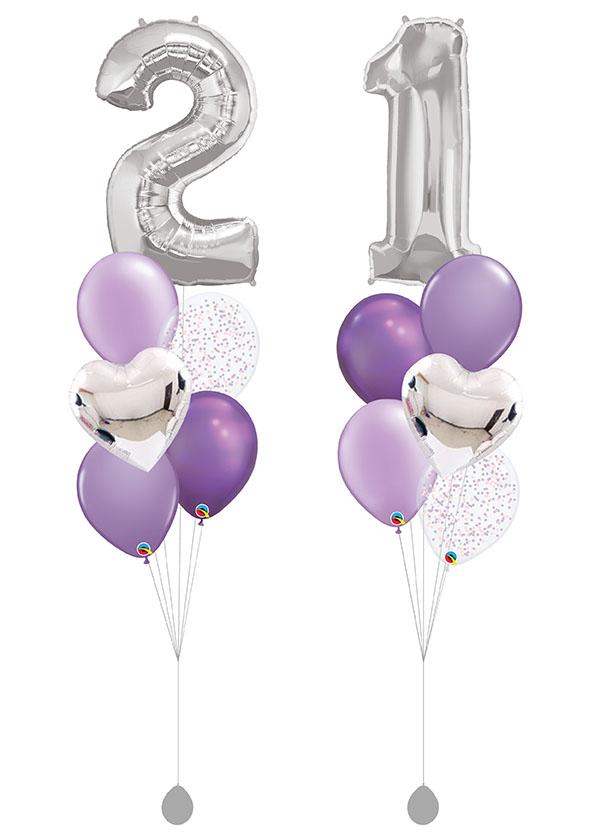 """[BOUQUET SET] Double Purple Bouquet with 40"""" Silver Number Foil"""
