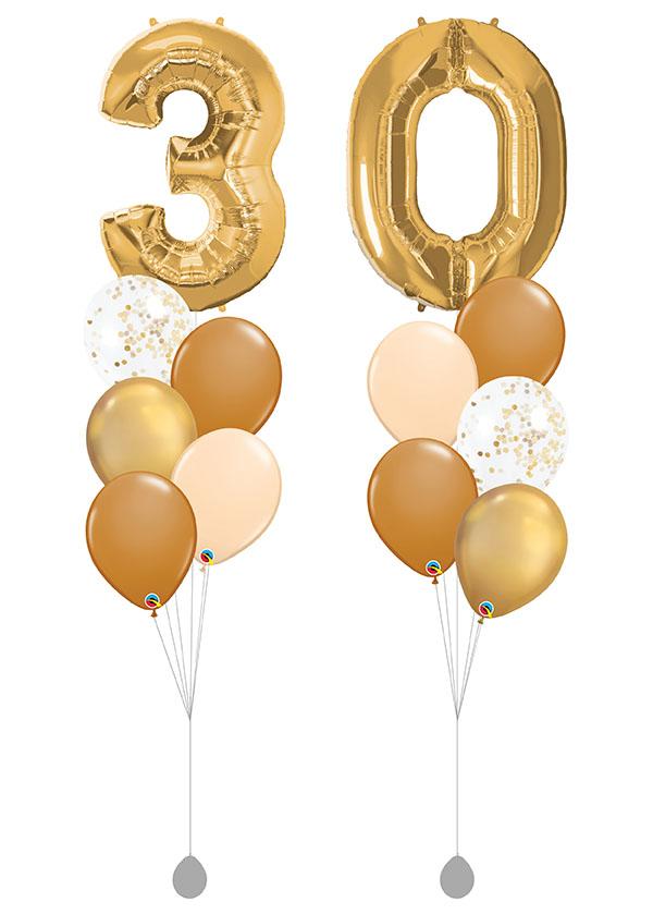 """[BOUQUET SET] Double Gold Bouquet With 40"""" Gold Number Foil"""