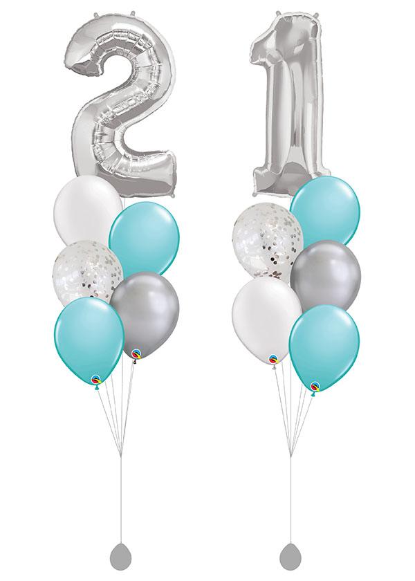 "[BOUQUET SET] Double Tiffany Bouquet with 40"" Silver Number Foil"