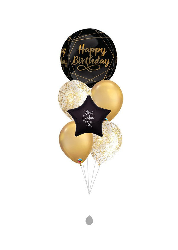 [BOUQUET] Birthday Black and Gold Geometric Orbz 4 Bouquet