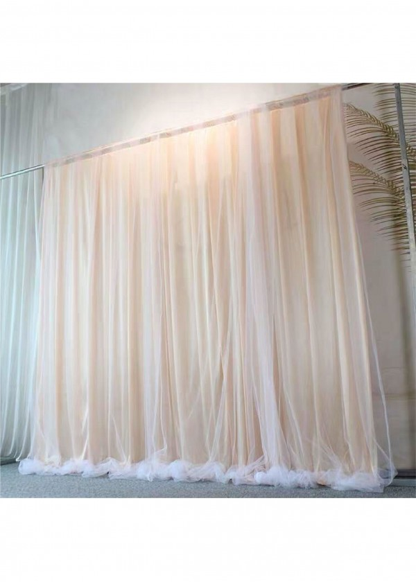 [RENTAL] Sheer Curtain Backdrop Champagne 3m x 3m $25.00