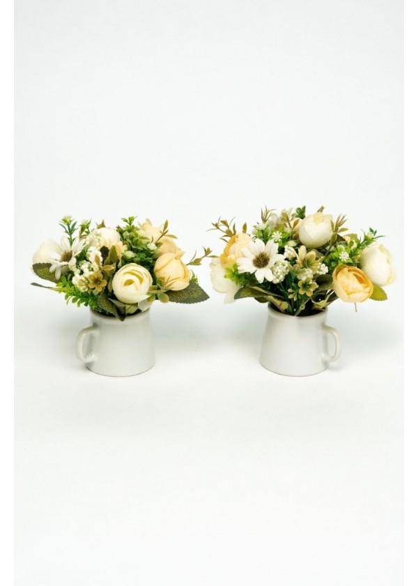 [RENTAL] Set of 2 Mini Faux Garden Flower with Pot $3.00