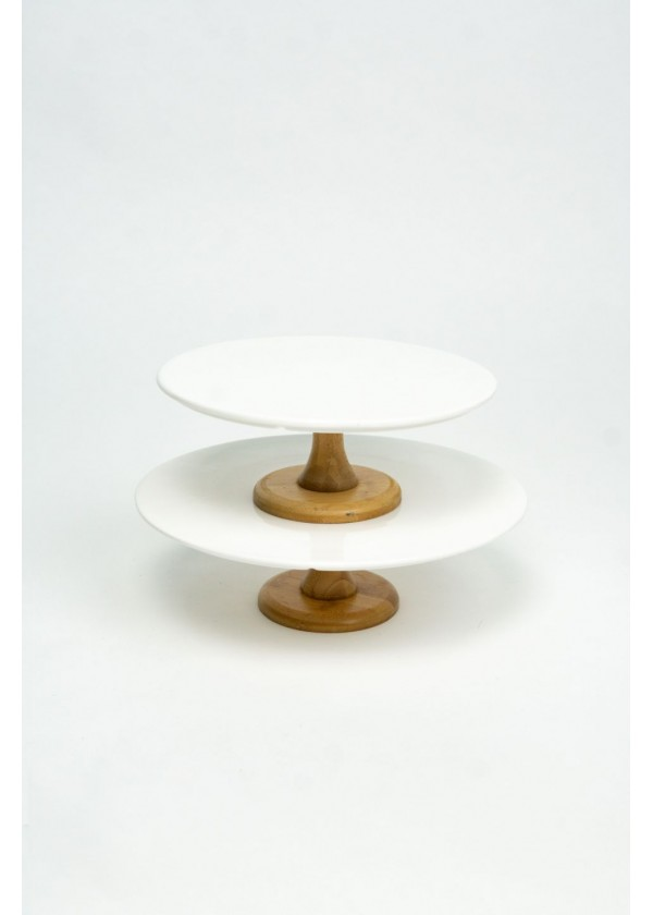 [RENTAL] White Ceramic with Wooden Base Cake Stand $10.00