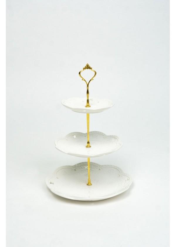 [RENTAL] 3 Tier White Ceramic Dessert Stand $12.00