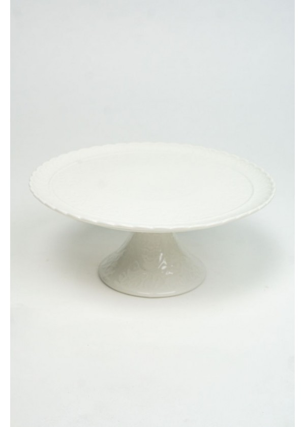 [RENTAL] White Western Floral Emboss Ceramic Cake Stand $10.00