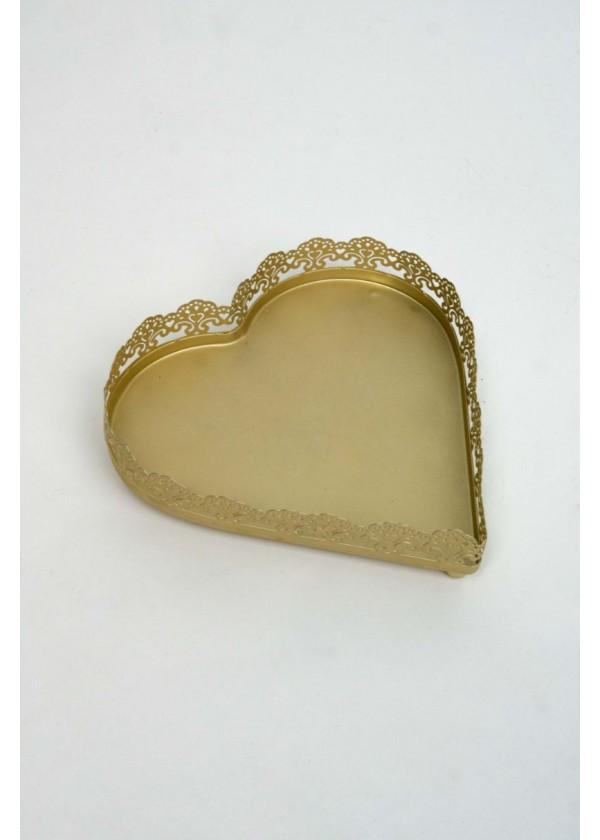 [RENTAL] Elegant Gold Heart Shape Tray $6.00