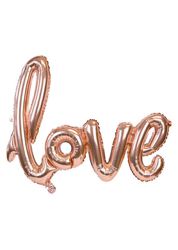[LOVE] Script Foil Balloon Rose Gold