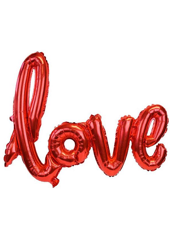 [LOVE] Script Foil Balloon Red