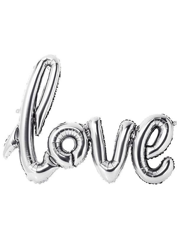 [LOVE] Script Foil Balloon Silver