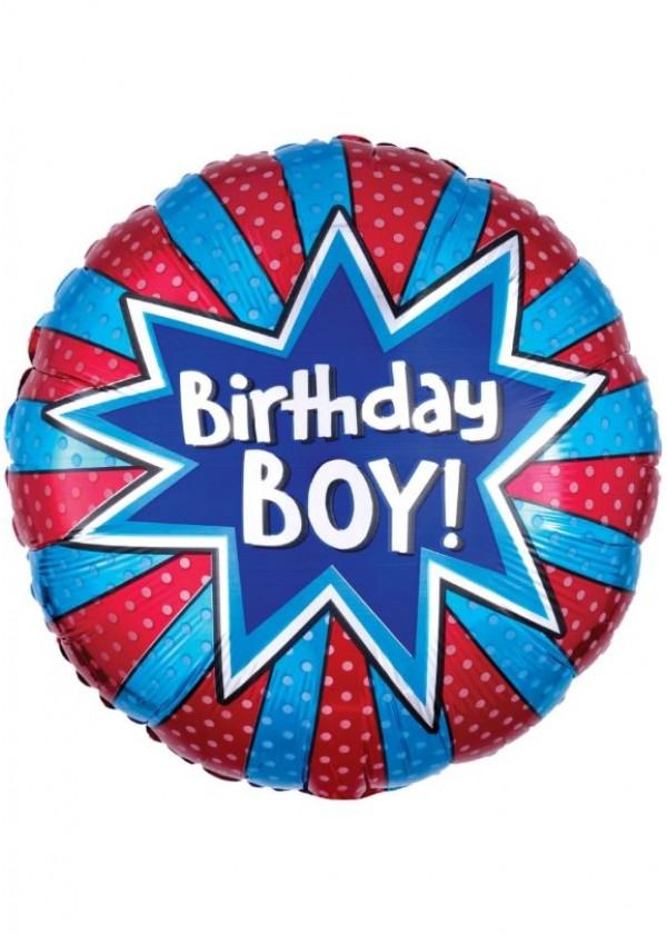 """18"""" Round BDAY Birthday Boy Burst"""