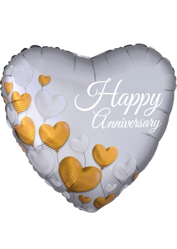 "18"" Heart Anniversary Platinum Hearts"