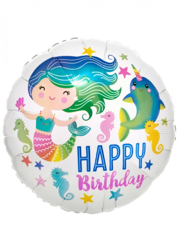 "18"" Round BDAY Colourful Mermaid HBD"