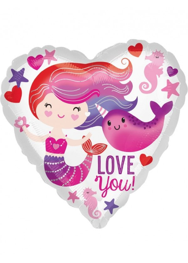"""18"""" Heart Mermaid and Narwhal Love"""