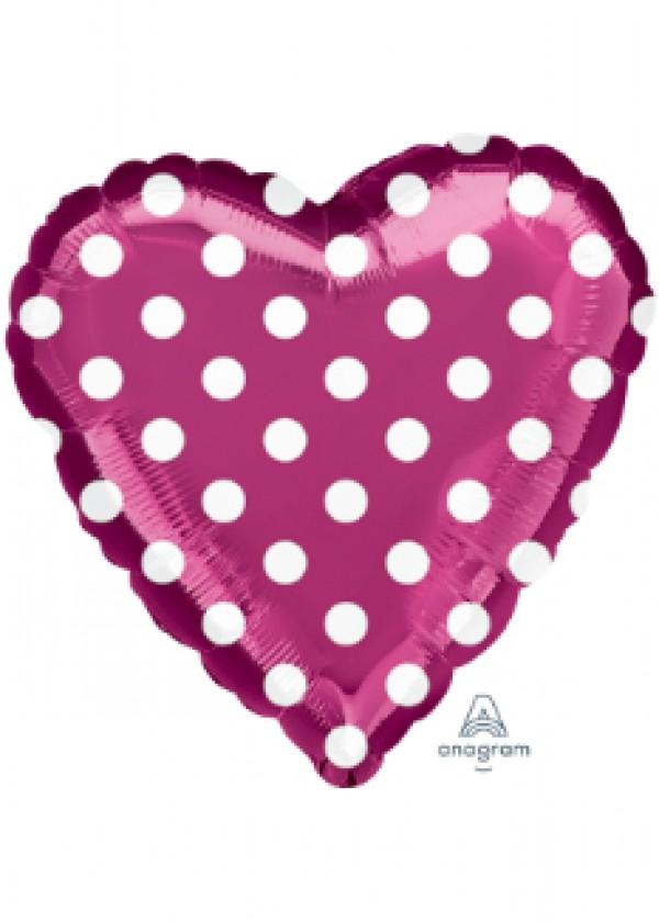 """18"""" Heart Polka Dots Fuchsia"""