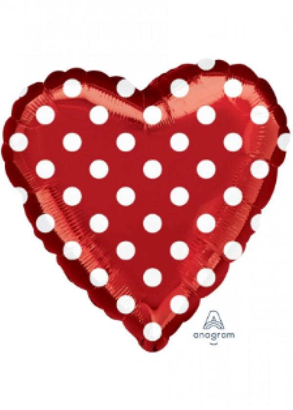 "18"" Heart Polka Dots Red"