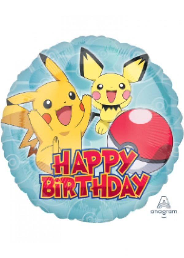 "17"" Round Pokemon Happy Bday"