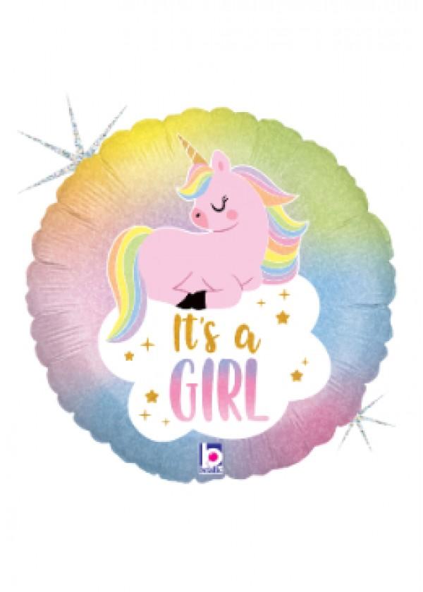 "18"" Round Glitter Pastel Unicorn Baby Double Vision"