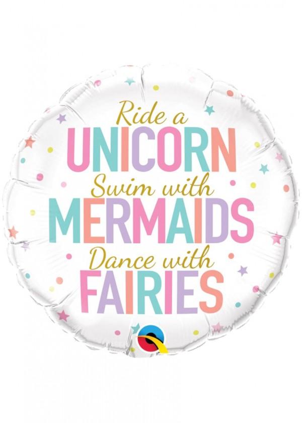 """18"""" Round Unicorn/Mermaids/Fairies"""
