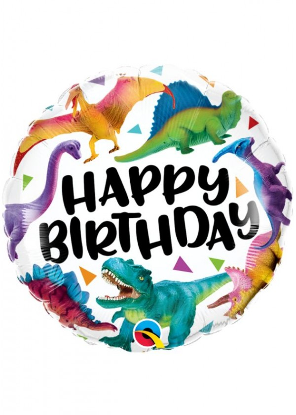 """18"""" Round BDAY Colorful Dinosaurs"""