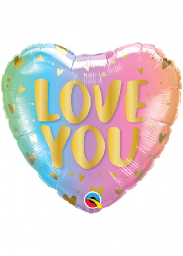"""18"""" Heart LOVE Love You Pastel Ombre & Hearts"""