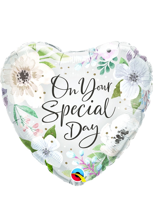 """18"""" Heart Special Day White Floral"""