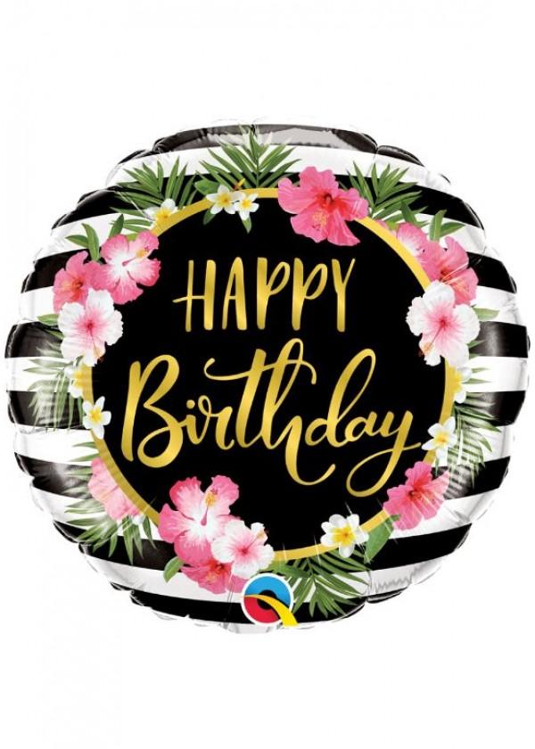 "18"" Round BDAY Birthday Hibiscus Stripes"