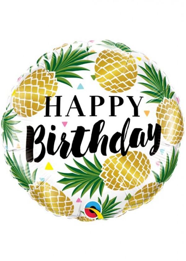 "18"" Round BDAY Birthday Golden Pineapple"
