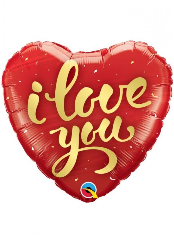 """18"""" Heart LOVE I Love You Gold Script"""