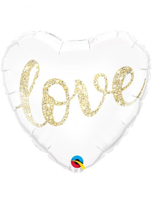 "18"" Heart Love Glitter Gold"