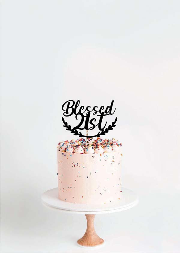 Cake Topper Blessed 21st Wreath