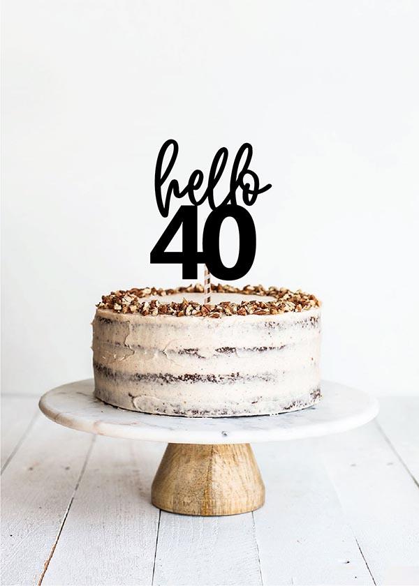 Cake Topper Hello 40