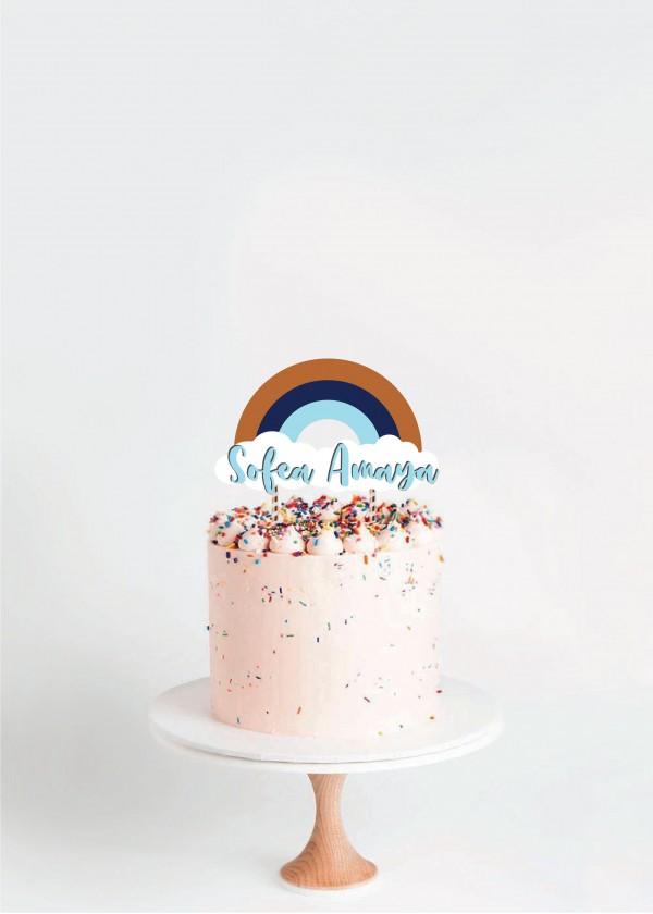 Cake Topper Earth Tones Sky Rainbow *NAME*