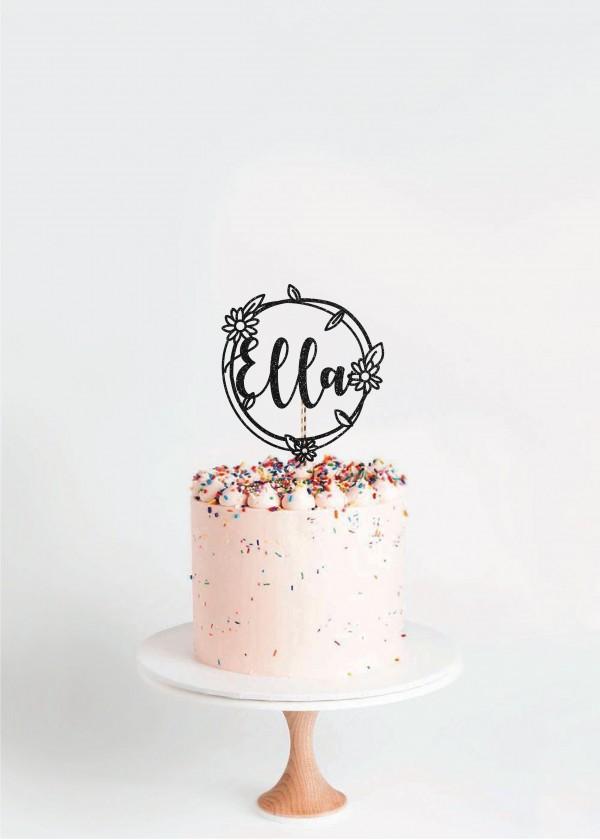 Cake Topper *NAME* Daisy Wreath