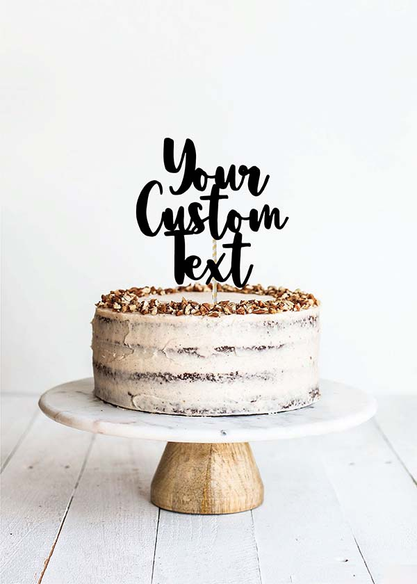 Cake Topper 3 Line Thick Calligraphy Font