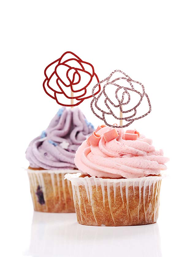 Cupcake Topper Rose [Set of 5]