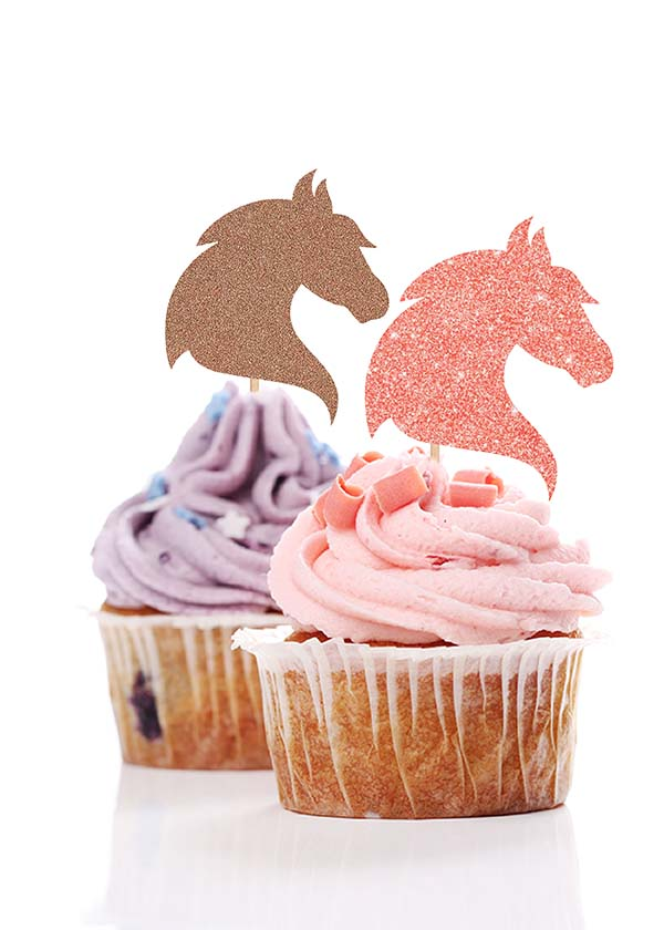 Cupcake Topper Mystical Unicorn Head [Set of 5]