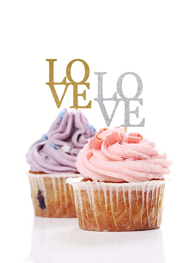 Cupcake Topper LOVE [Set of 5]